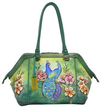 Anuschka Hand Painted Leather Large Wide Satchel