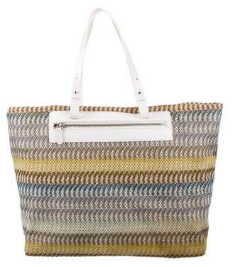 Missoni Leather-Trimmed Woven Tote
