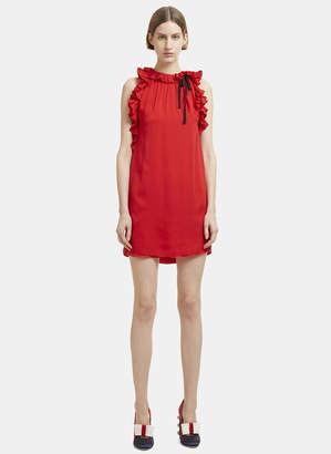 Gucci Sleeveless Ruffle Dress in Red