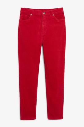 Monki Slim fit corduroy trousers