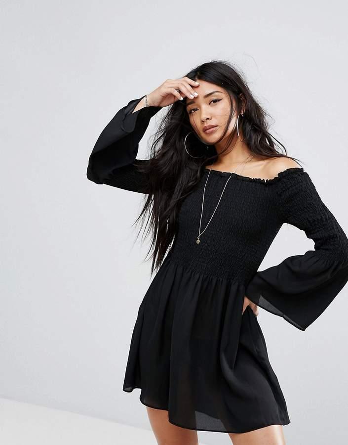 Missguided Fluted Sleeve Shirred Bardot Skater Dress
