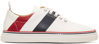 Thom Browne White Diagonal Stripe Sneakers $690 thestylecure.com