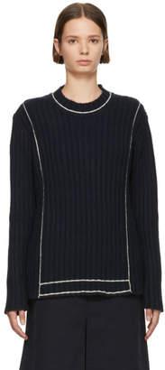 Sara Lanzi Navy Ribbed Sweater