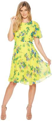 Calvin Klein Floral Print Flutter Sleeve Chiffon A-line CD8H22JN Women's Dress