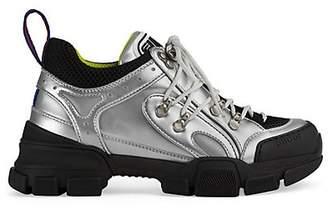 Gucci Women s Flashtrek Metallic Leather Sneakers - Silver 5a78dbfb6