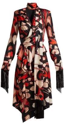 Alexander McQueen Butterfly Print Tassel Trim Silk Midi Dress - Womens - Red Multi