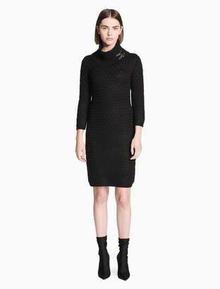 Calvin Klein cowl neck buckle sweater dress