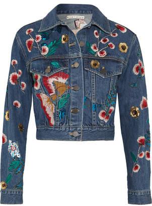 Alice + Olivia Alice Olivia - Chloe Embroidered Sequined Denim Jacket - Mid denim