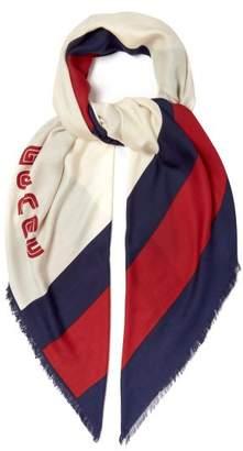 Gucci Logo Knit Striped Scarf - Mens - White Multi