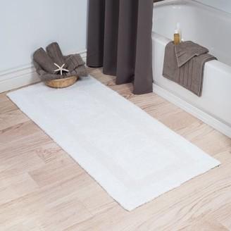Somerset Home 100% Cotton Reversible Long Bath Rug - White - 24x60