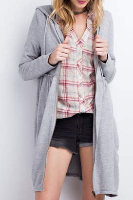 Easel Hooded Zip-Up Cardigan