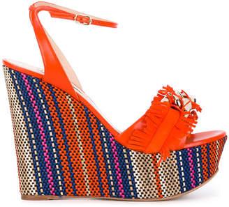 Casadei fringe strap wedge sandals