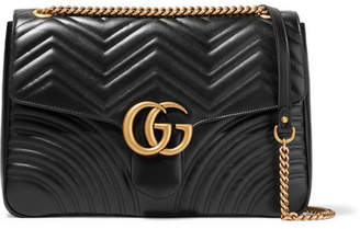 Gucci Gg Marmont Large Quilted Leather Shoulder Bag - Black