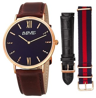 August Steiner Men's Interchangeable Strap Watch Gift Set $89.97 thestylecure.com