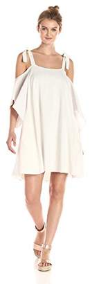 Halston Women's Flowy Sleeve Cold Shoulder Dress with Ties