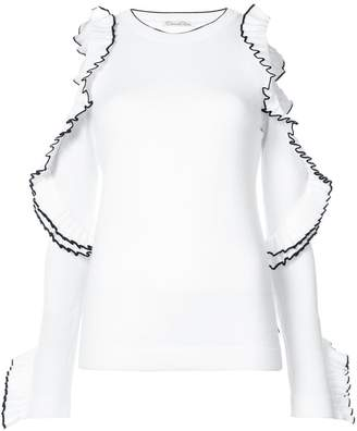 Oscar de la Renta cold-shoudler ruffled knitted top