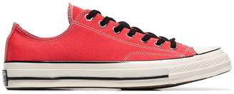 red eyelet detail low-top cotton sneakers
