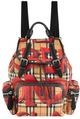 Burberry Medium Graffiti Vintage Check Backpack