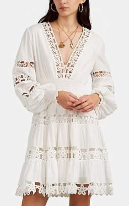 Zimmermann Women's Primrose Daisy Crocheted-Inset Swiss Dot Minidress - White