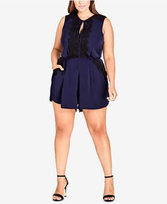 City Chic Trendy Plus Size Lace-Trim Romper