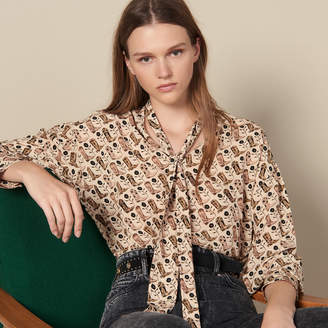 Sandro Printed Flowing Top With Bow Collar