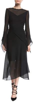 Roland Mouret Asterleigh High-Neck Long-Sleeve Bias-Cut Mesh Dress