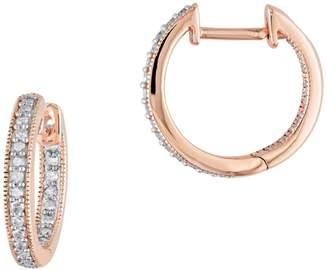 Concerto 14K Rose Gold and 0.25 CT. T.W. Diamonds Inside Outside Hoop Earrings