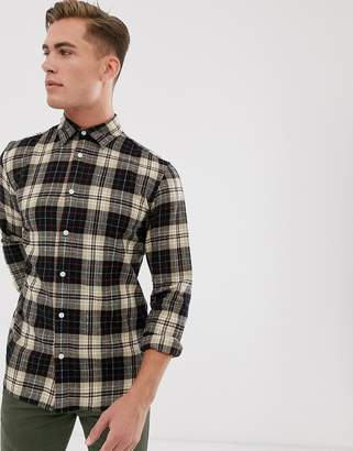 Selected large check shirt in off white