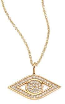 Sydney Evan Small Pave Evil Eye Diamond& 14K Yellow Gold Pendant Necklace