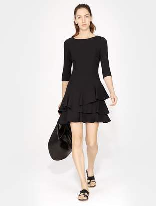 Halston Elbow Sleeve Flounce Dress