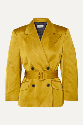 Dries Van Noten Bounty Double-breasted Belted Metallic Faille Blazer - Mustard