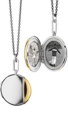 """Monica Rich Kosann Silver & 18k Yellow Gold Round Locket Necklace, 32"""""""