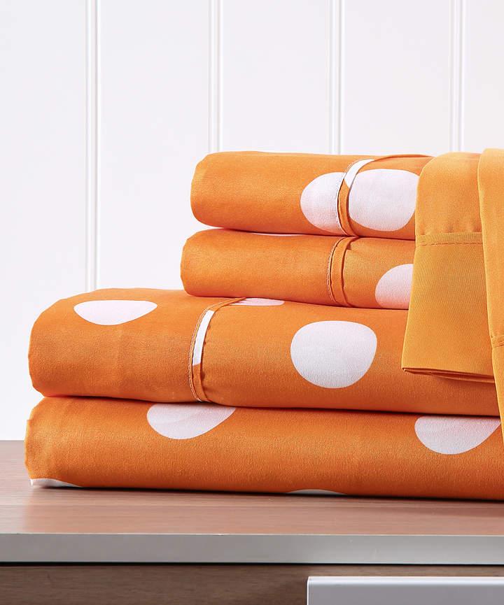 Orange Polka Dot Six-Piece Sheet Set