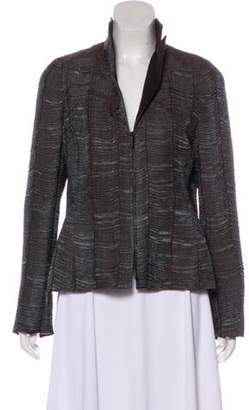 Akris Textured Pointed Collar Jacket Brown Textured Pointed Collar Jacket