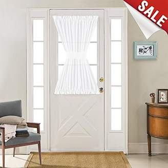 Linen Textured French Door Panel Curtains Open Weave White Sheer French Door Panels 40 inch Length