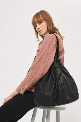 Topshop Leather Drawstring Tote Bag