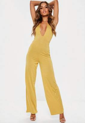 Missguided Gold Slinky Plunge Wide Leg Jumpsuit, Gold