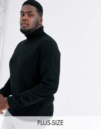 Soul Star Plus fitted roll neck in black