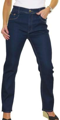 Ice Womens High Waist Stretch Denim Jeans Straight Legs Smooth 10-20