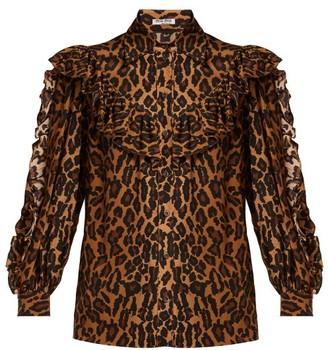 Miu Miu Leopard Print Silk Blouse - Womens - Leopard
