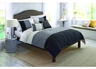 Better Homes & Gardens Banded Onyx 5-Piece Pintuck Comforter Set, King, Black/Grey