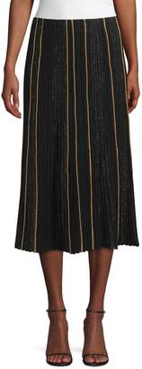 Lafayette 148 New York Ottoman Pleat Sequin Silk Lurex Midi Skirt