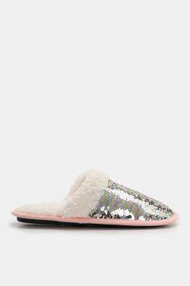 Ardene Sequin Faux Sherpa Slippers