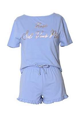 Dreamour Women's Sleepwear Graphic Tee Shirt and Short Pajama Set L