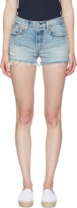 Levi's Blue Denim 501 Shorts $65 thestylecure.com