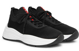 Prada America's Cup Leather-Trimmed Mesh Sneakers