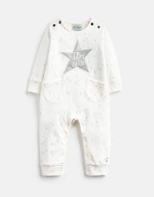 Joules Star Unisex Babygrow in Cream CINDERELLA STAR HOPE STRIPE