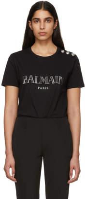Balmain Black Buttoned Logo T-Shirt