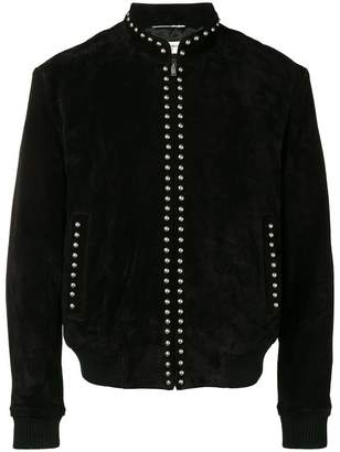 Saint Laurent studded high neck bomber jacket