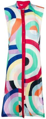 Pleats Please Issey Miyake graphic pleated shirt dress